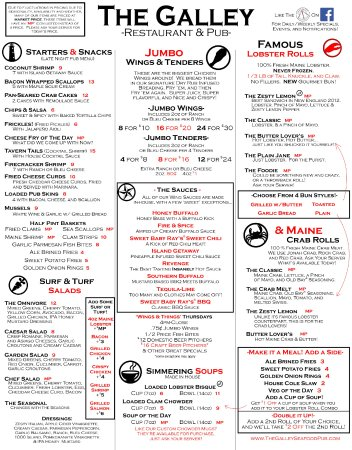 The Galley Restaurant & Pub : Menu 1