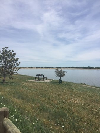 Longmont, CO : picnic table and reservoir (looking east)