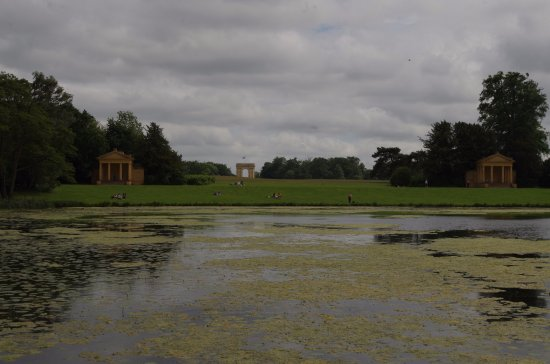 Buckingham, UK: the Main gate and the East and West summer houses - Stowe House is behind the lens