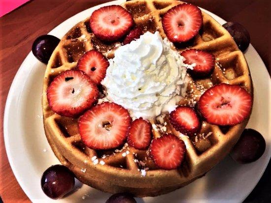 Pawtucket, RI: Belgian Waffle topped with Fresh Fruit