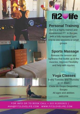 Burgau, Portekiz: Fit2lovelife offering Massage , Yoga and Personal Training