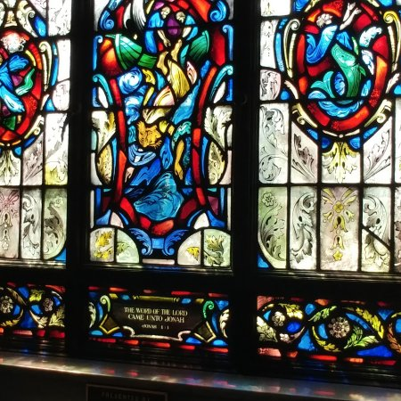 U.S. Naval Academy : Sample of stained glass panels in the cathedral