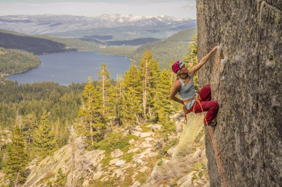 Olympic Valley, CA: Rock Climbing on Donner Summit above Donner Lake.
