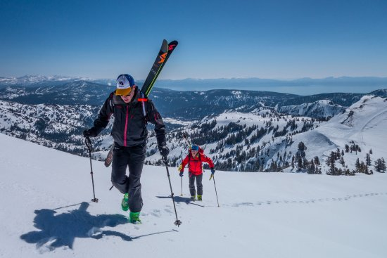 Olympic Valley, CA: Hiking for fresh powder in the Lake Tahoe backcountry.