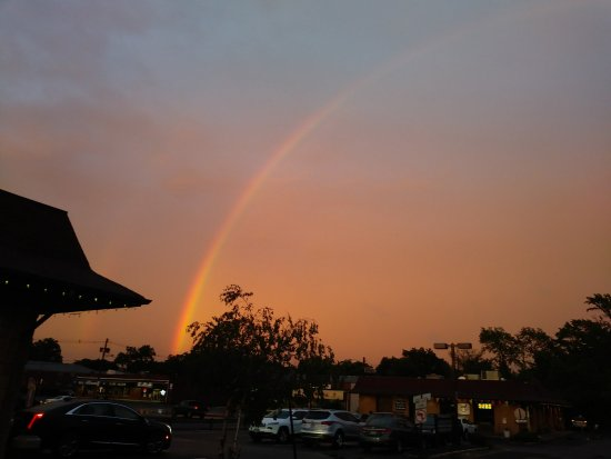 Clark, NJ: Best part of evening: leaving and seeing rainbow.
