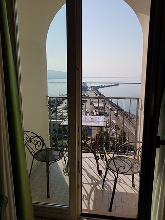 Lloyd's Baia Hotel: 'cosy' balcony only big enough for two. Three in party