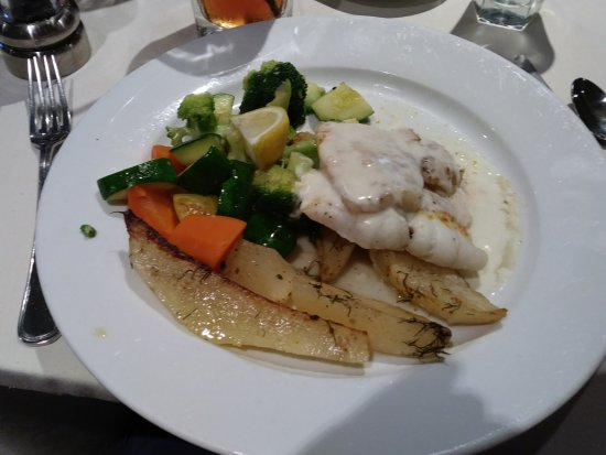 Branchburg, NJ: Fish with sliced boiled potatoes and veggies.