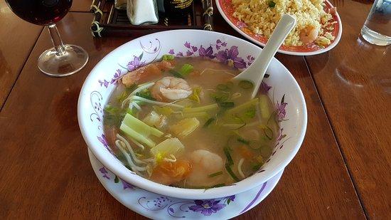 Ulladulla, Australië: Prawn sour soup - fantastic.