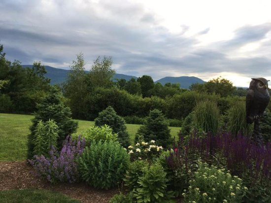 Manchester, VT: The lovely garden and view outside the restaurant