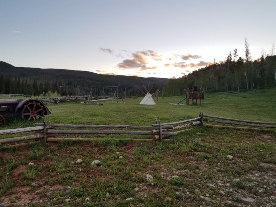 Kremmling, CO: Tepee and play structure keep the kids busy.