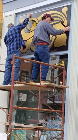 Corry, PA: Ephinanys Emporium New Sign Being Installed