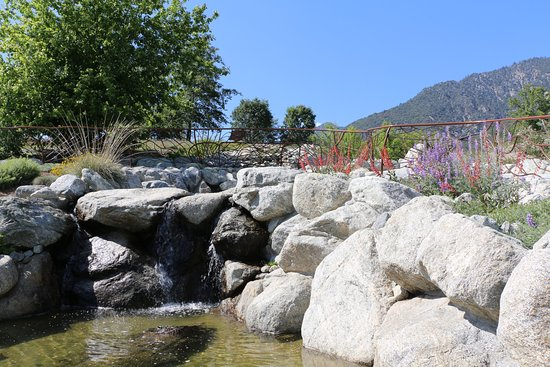 Oak Glen, CA: Stream and waterfall in the garden