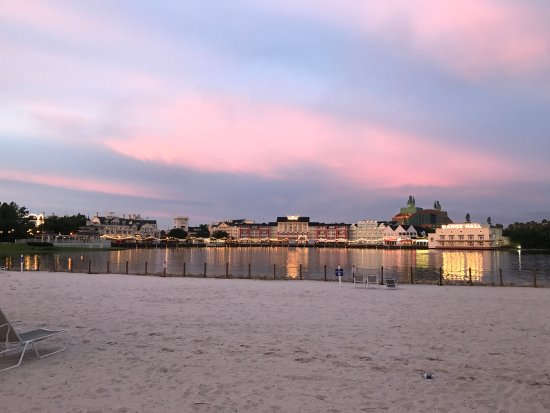 Disney's Beach Club Resort: From Beach Club beach looking across to the Boardwalk area (7 minute walk away)
