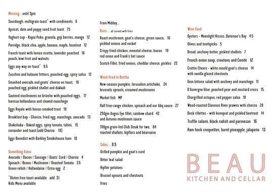 Beau Kitchen And Cellar Menu