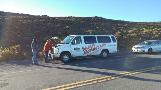 Paia, HI: Our van broke down just below the summit and we had to wait an hour and a half for a replacement