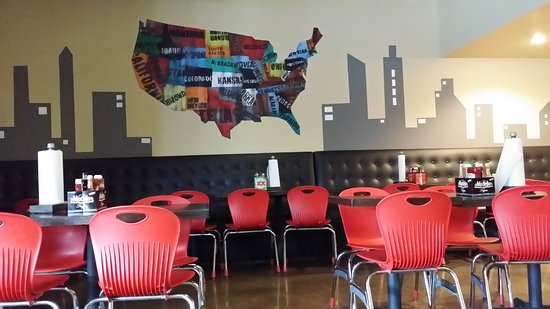 The Woodlands, TX: Map of America inside the restaurant