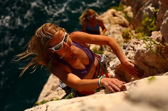 Rock climbing with stunning views
