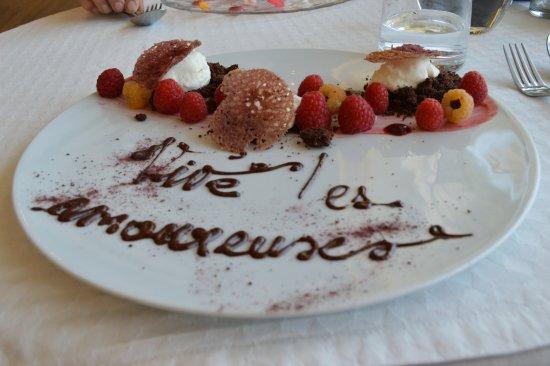 Le Bourget-du-Lac, France: Délicate attention du chef pour notre anniversaire!