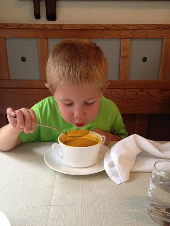 Cerklje, Slovenia: Our son absolutely LOVED the carrot soup and purple mashed potatoes....and dessert