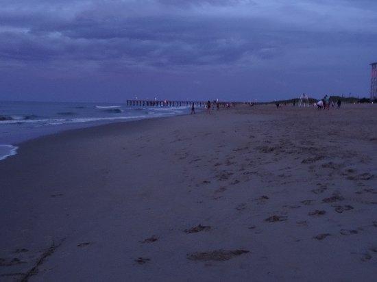 Sandbridge Beach: Lots of families on beach at night