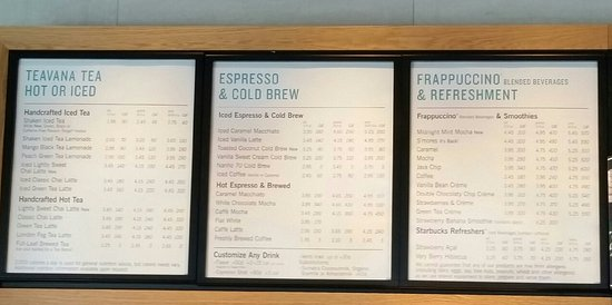 Menu Picture Of Starbucks Milford Tripadvisor
