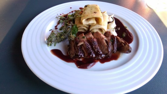 Lednice, Republik Ceko: Breast of duck smoked & grilled with wine sauce and variety of vegetable puree with potato panca