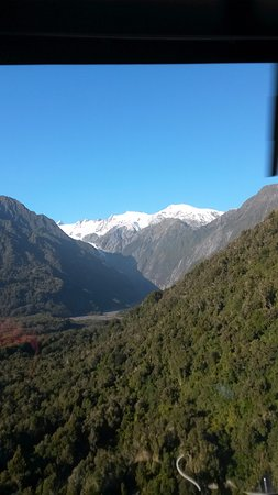 Franz Josef, Nieuw-Zeeland: Going up in the helicopter to the glacier