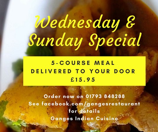 Ganges Indian Cuisine: 5-Course Meal Delivered to your Door on Weds & Sun