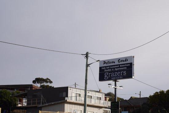 Scamander, Australia: Signboard of the Pelican Sands