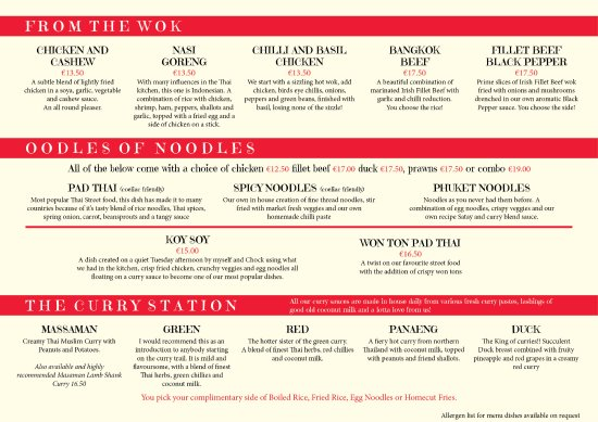 Newbridge, Ierland: Menu: From WOK, Noodles & Curries