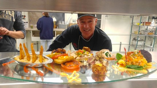 Camp Hill, PA: Chef Wes Stepp in the kitchen, with a unique tapas platter