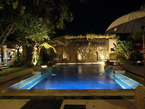 Bebek Tepi Sawah Villas & Spa : vista nocturna de una de las piletas