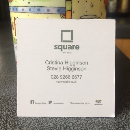 Lisburn, UK: Neat cards, tasteful design: reflects the simplicity and quality of the restaurant and its food.