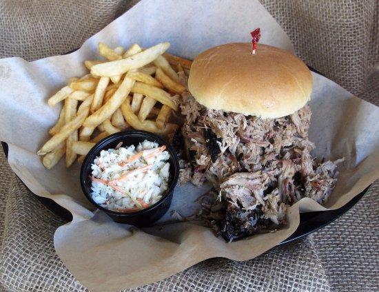 Waynesboro, VA: The Two Fister Pork BBQ Sandwich with French Fries and Homemade Slaw