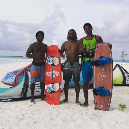 Lhaviyani Atoll: Kite Boarding professionals in between sessions.