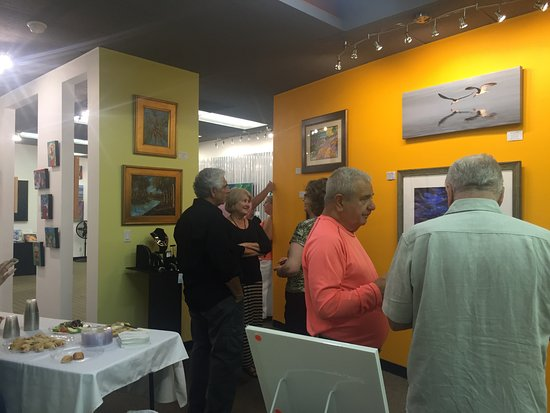 Flagler Beach, FL: Guests socializing during reception for Flagler County's Artist of the Year.