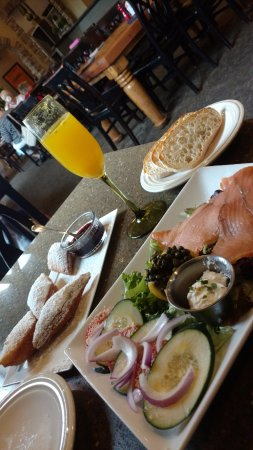 On The Rise Bakery Bistro Beignets Salmon Plate Mimosa