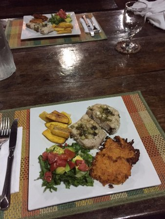 Marigot, Dominica: Another varied dinner at the end of the day...