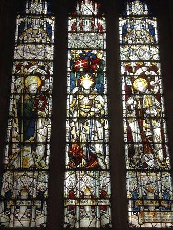 Burford, UK: Stained glass window.