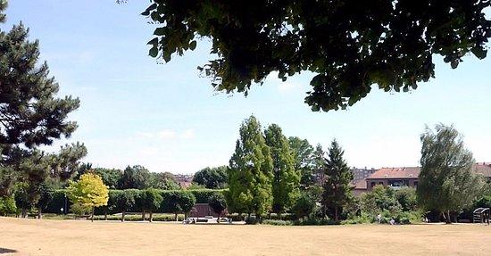 Woluwe-Saint-Lambert, بلجيكا: Terrain herbeux et environnement arboré