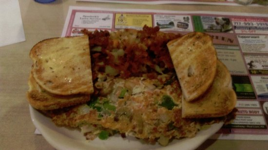 York, PA: Western Omelette with mushrooms added, home fries, rye toast