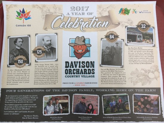Vernon, Canada: Tray liner featuring the historic facts about the Davison family.
