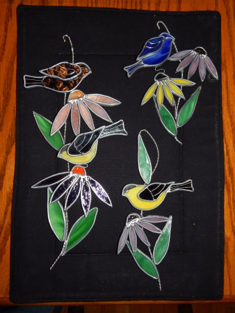 Salmon Arm, Canada: some of the natural birds and wild flower scrolls made at The Stained Glass Garden Shoppe