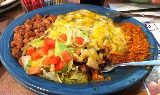 Rio Rancho, NM: Beef Stuffed Sopapilla with Beans and Rice! Yummy!