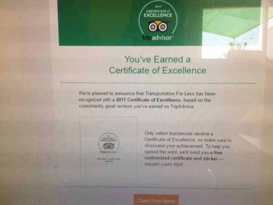 Transportation For Less: CERTIFICATE OF EXCELLENCE FROM TRIPADVISOR
