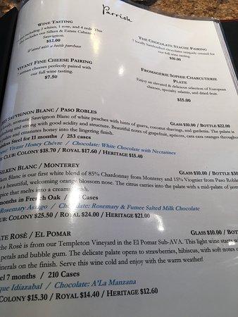 Paso Robles, Kalifornien: Tasting menu