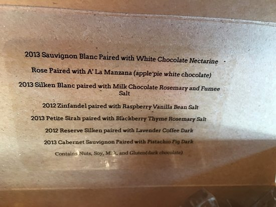 Paso Robles, Kalifornien: Must do the chocolate pairing!