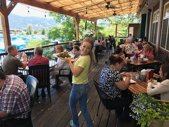 Sandpoint, ID: Happy folks eating on our deck.