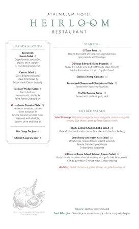 Heirloom Restaurant : 2017 Dinner Menu Pg. 1