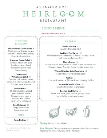 Chautauqua, NY: 2017 Lunch Menu